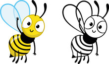 Cartoon Bee Character Greets Us. Vector Coloring Page For Kids.