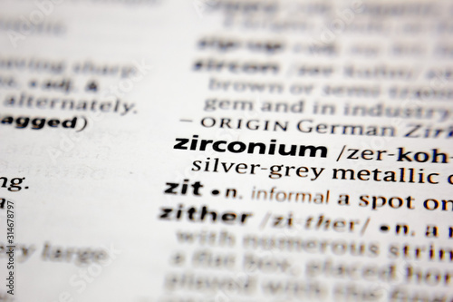 Fotografie, Tablou Word or phrase zirconium in a dictionary.