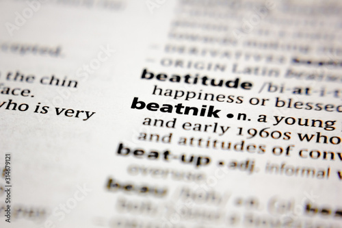 Word or phrase beatnik in a dictionary. Canvas Print