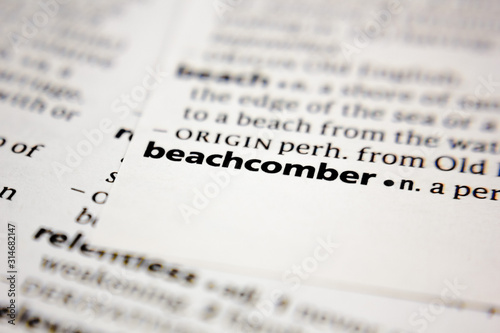 Word or phrase beachcomber in a dictionary. Wallpaper Mural