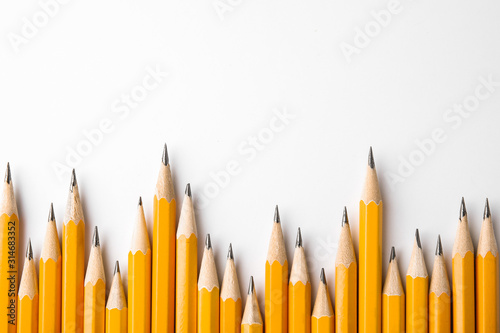 Graphite pencils on white background, top view. Space for text Canvas Print