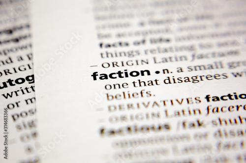 Obraz na plátně Word or phrase faction in a dictionary.