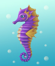 Purple Seahorse With Yellow Fi...