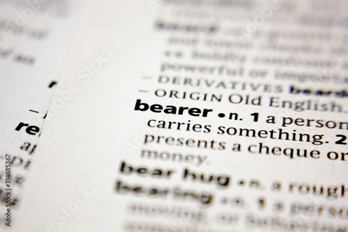 Word or phrase bearer in a dictionary. Canvas Print