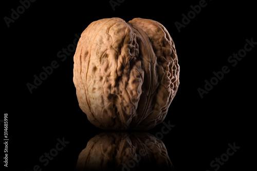 Obraz Macro photo of whole walnut with reflection isolated on a black background - fototapety do salonu