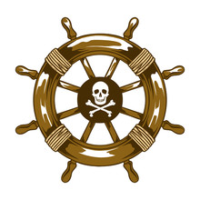 Pirates Ship Steering Wheel. Vector Object Illustration