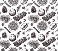 Mulled Wine Ingredients Seamless Pattern. Cinnamon Stick Tied Bunch, Anise Star, Orange. Hand Drawn Sketch.