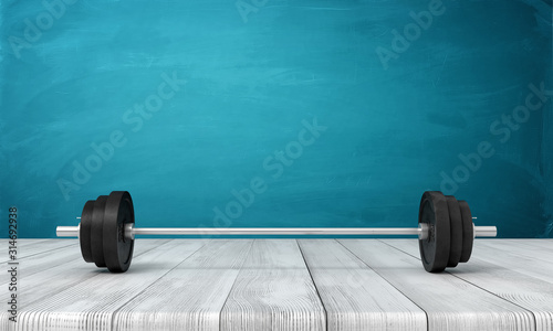 3d rendering of barbell lying on wooden floor near blue wall with copy space Wallpaper Mural