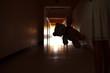 Leinwandbild Motiv A dark silhouette of a child with a Teddy bear. One child with a dark long corridor. Spooky scary hallway. The house is haunted.