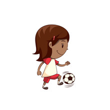 Little Girl Playing Football S...