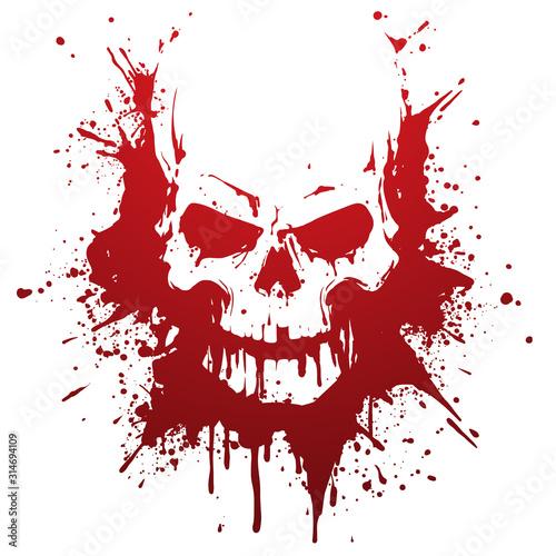 Cuadros en Lienzo Skull in blood stains illustration