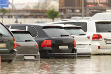 Cars Stuck In Water In A Flood...