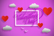 canvas print picture - HAPPY VALENTINE'S DAY postcard in pink colors