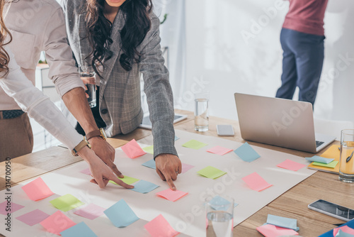 cropped view of businesswomen and businessman pointing with fingers at sticky notes