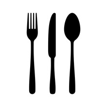Cutlery Silhouettes. Fork Spoo...