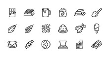 Chocolate Line Icons. Cocoa Po...