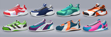 Realistic Sneakers. Footwear And Training Shoes, Fashion Sport Shopping, Various Colorful Shoes. Vector Illustration Sport Shoes Isolated Set For Healthy Lifestyle Symbol