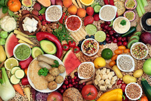 Vegan Food For Ethical Eating Concept With Foods High In Protein, Vitamins, Minerals, Anthocyanins, Antioxidants, Fibre, Omega 3 And Smart Carbs.  Flat Lay.