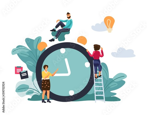 Time management concept. Scene with effective multitasking at work. Vector cartoon quick reaction awakening concept for site layout or network illustrations landing technology
