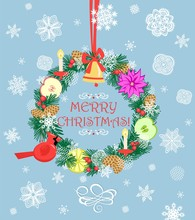 Greeting Christmas Pastel Blue...