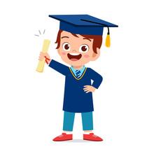 Happy Cute Little Kid Boy Grad...