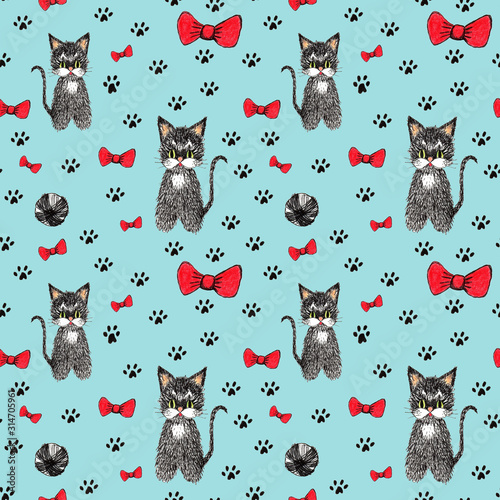 Hand drawn cute seamless pattern for kids design. Black cats, footprints, red bows, a ball on a bright blue background. For fabrics, wallpaper, packaging, children's clothing