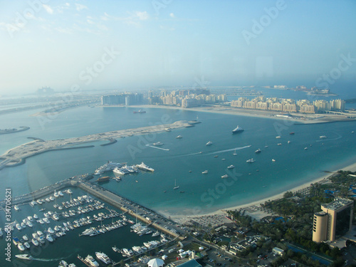 view from top point to the Persian Gulf, the island of Palma, marina and the Atl Wallpaper Mural