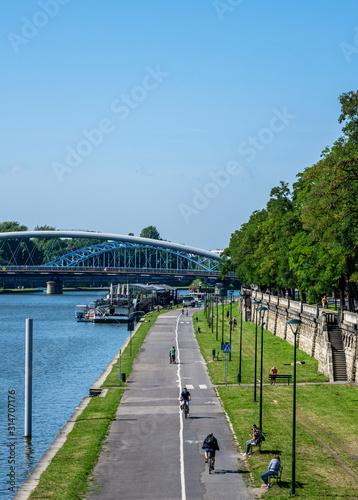 Promenade and Bicycle Path along Vistula River, Cracow, Lesser Poland Voivodeship, Poland