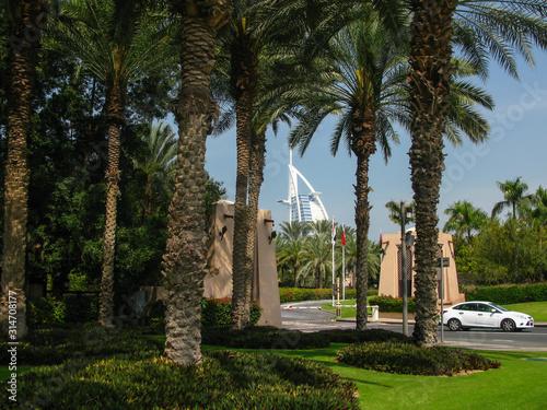 Photo view of Burj Al Arab Hotel from entry of Souk Madinat Jumeirah, Dubai, UAE