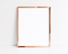 Rose Gold Frame Isolated On Wh...