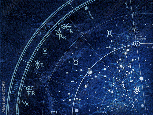 Fragment of The Astronomical Celestial Atlas of Night Sky with Stars and Planets (Alternate Ultraviolet Blueprint: grunge vintage remake) Wallpaper Mural