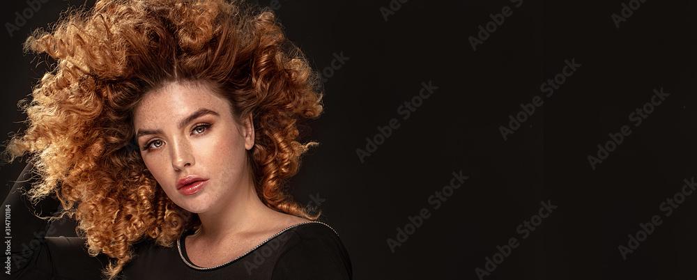 Obraz Beauty portrait of elegant girl with freckles. fototapeta, plakat