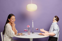 Relationship Simulations Concept. Romantic Woman Admires Her Unreal Lover, Starts Serious Relations, Dreams About Dating, Being Invited For Date, Believes In Love Story, Has Dinner With Male Doll