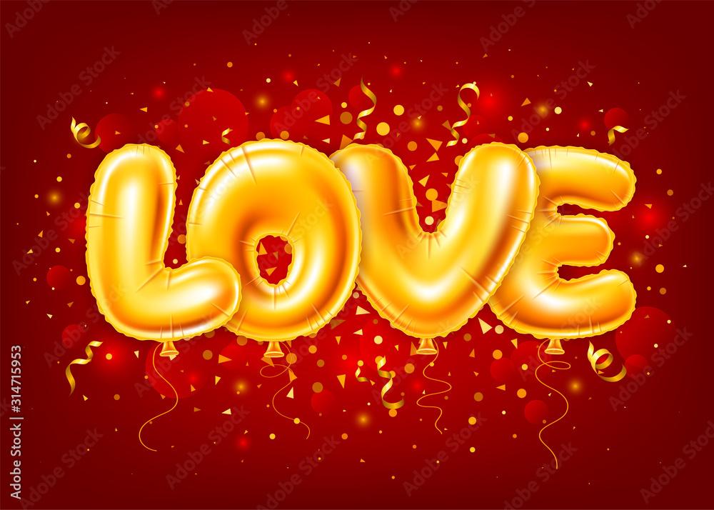 Fototapeta Balloons Letters Love On Red Festive Background