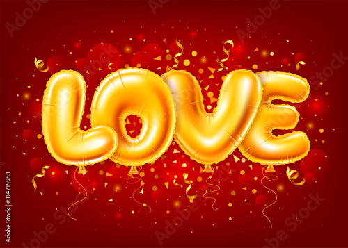 Obraz Balloons Letters Love On Red Festive Background - fototapety do salonu