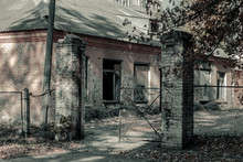 The Building Of The Old Destroyed Morgue. Abandoned Morgue