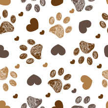 Doodle Brown Paw Prints With Hearts Seamless Fabric Design Pattern Vector
