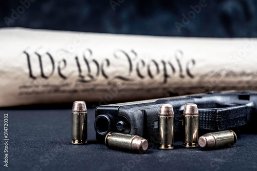Fotografie, Obraz United States constitution and gun rights