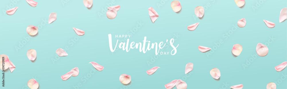 Fototapeta valentine's day banner. Pink rose petals on Green background. Realistic Vector illustration.