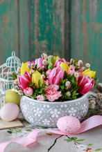 Woman Shows How To Make Beautiful Floral Arrangement With Tulip And Carnation Flowers