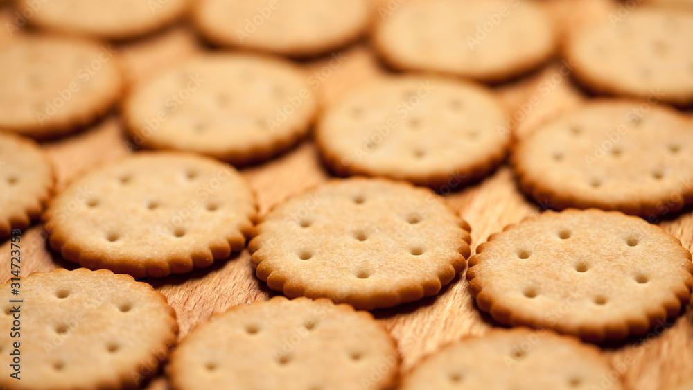 Fototapeta Macro shoot of round crackers