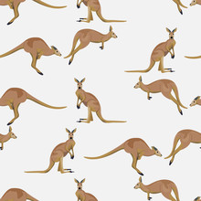 Seamless Pattern With Kangaroo...
