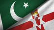 Pakistan and Northern Ireland two flags textile cloth, fabric texture
