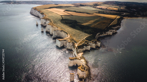 A drone shot of Old Harry Rocks Canvas Print