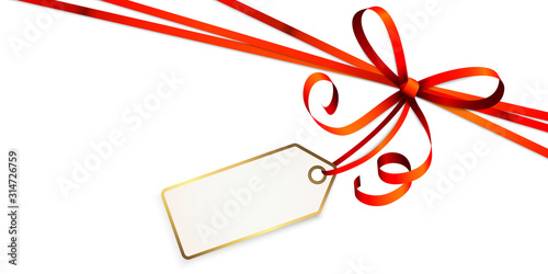 Obraz red colored ribbon bow with hang tag - fototapety do salonu