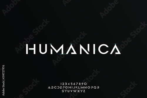 Humanica, an Abstract technology futuristic alphabet font. digital space typography vector illustration design