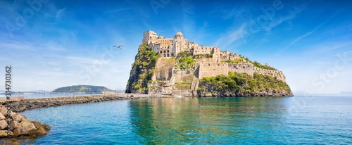 Aragonese Castle is most popular landmark in Tyrrhenian sea near Ischia island, Italy Fototapeta