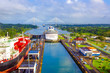 canvas print picture - View of Panama Canal from cruise ship