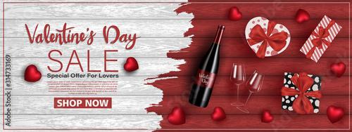 Obraz Happy saint valentine's day, 3d red hearts blur efect design, Celebration card, vector illustration - fototapety do salonu