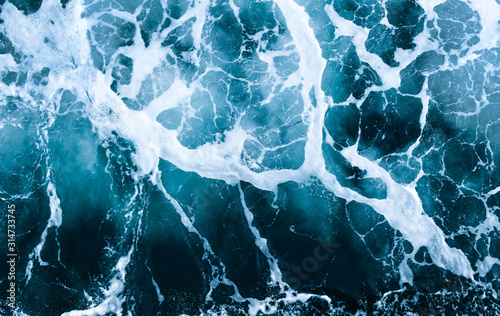 Fototapeta Crashing Waves of sea and Aerial view to ocean wave. Blue water background. obraz